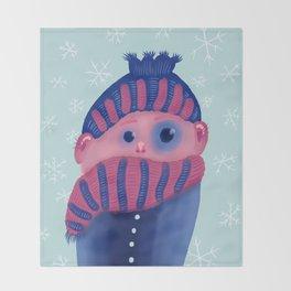 Freezing Kid In Winter Throw Blanket