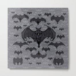 Balinese Bat - Haunted Mansion Damask Metal Print