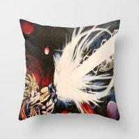dbz Throw Pillows featuring DBZ Galaxy by DrewzDesignz