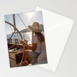 Girl onboard a sailing yacht- nautical photography- sailor Stationery Cards