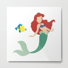Ariel and Flounder Metal Print