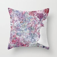 detroit Throw Pillows featuring Detroit map by MapMapMaps.Watercolors