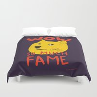 doge Duvet Covers featuring Shiba doge so much fame by Sylwia Borkowska