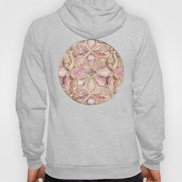Geometric Gilded Stone Tiles in Blush Pink, Peach and Coral Hoody