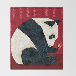 The Panda and the Butterfly Throw Blanket
