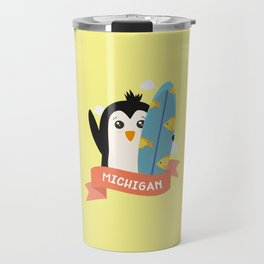 Penguin Surfer from Michigan T-Shirt for all Ages Travel Mug