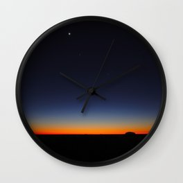 Orange & Blue Sunset Over The Australian Outback Round Photo Wall Clock