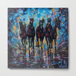 Free Roaming Wild Horses  Painting with a Palette Knife by OLena Art  Metal Print