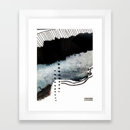 Closer - a black, blue, and white abstract piece Framed Art Print
