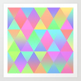 Colorful Geometric Pattern Prism Holographic Foil Triangle Texture Art Print