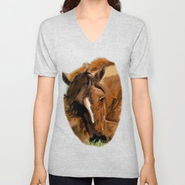 Horses - Mare and Foal Unisex V-Neck