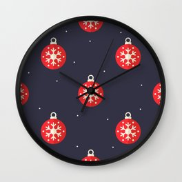 Red Christmas Ornament Pattern Wall Clock