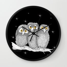 Zentangle Owl Friends at Night Wall Clock