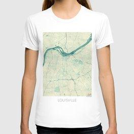 Louisville Map Blue Vintage T-shirt