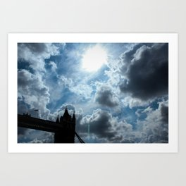 A plane flies over Tower Bridge Art Print