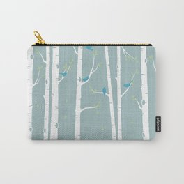 Birch Trees with Duck Egg Background Carry-All Pouch