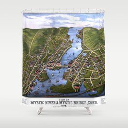 MYSTIC RIVER CONNECTICUT city old map Father Day art print Shower Curtain