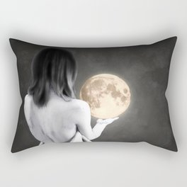 Moon Contemplation Rectangular Pillow