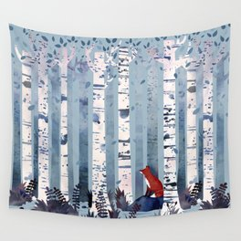 The Birches (in Blue) Wall Tapestry
