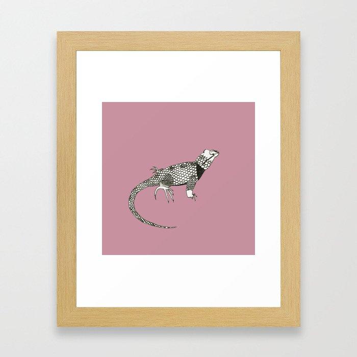 Black and White Lizard Framed Art Print