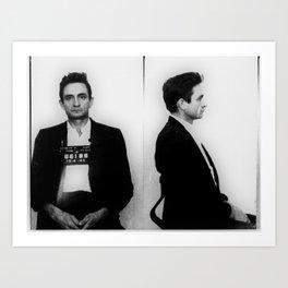Johnny Cash Mug Shot Country Music Fan Art Print