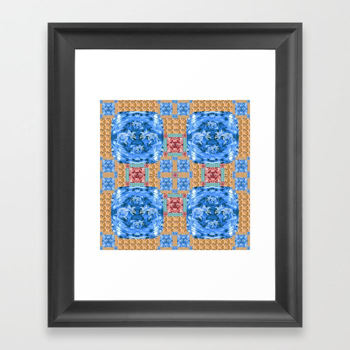 Vibrant Dinosaur Pixel Quilt Framed Art Print by Carlieamberpartridge FRM8338843