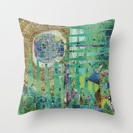 Teal Brown Blue Seed Abstract Art Collage Throw Pillow