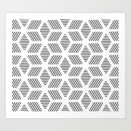 Geometric Line Lines Diamond Shape Tribal Ethnic Pattern Simple Simplistic Minimal Black and White Art Print
