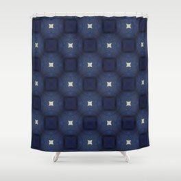 Blue and White Square Pattern Shower Curtain