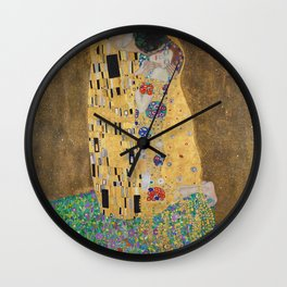 Gustav Klimt, The Kiss (Lovers), 1908 - Reproduction under Belvedere, Vienna, Creative Commons License CC BY-SA 4.0 Wall Clock