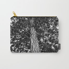 Tree Top // Snowy Winter Alpine Branches Trunk Nature Landscape Photography Black and White Decor Carry-All Pouch