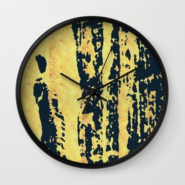 Conquer: a bold, pretty abstract piece in gold and midnight blue Wall Clock
