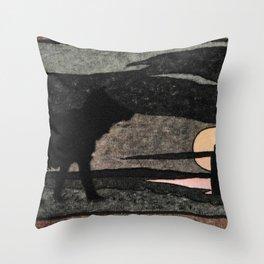 Grey Wolf and the Fire Bird By Ivan Biblin Throw Pillow