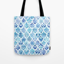 PAISLEY MERMAID Watercolor Scale Pattern Tote Bag