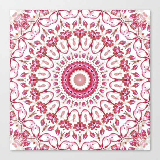 Pink White Floral Mandala Canvas Print
