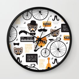 Hipster mustache animal jazz illustration design Wall Clock
