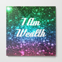 Wealth Affirmation Galaxy Sparkle Stars Metal Print