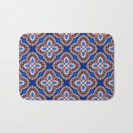 Beautiful Blue and Gold Beadwork Inspired Print Bath Mat