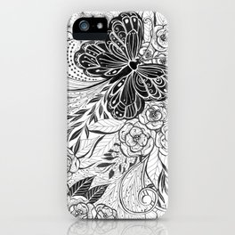 Butterfly and flowers iPhone Case
