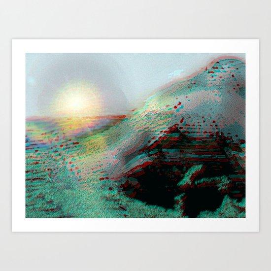 Mountainous Coastline [In Anaglyph 3D] Art Print