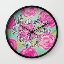 Lilly Pulitzer Roses 1 Corinthians 10 :31 Wall Clock
