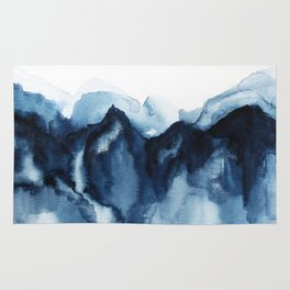 Abstract Indigo Mountains Rug
