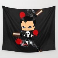 chibi Wall Tapestries featuring Chibi Punisher by artwaste