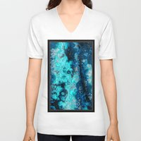 geology V-neck T-shirts featuring Blue Agate by DeepFlux