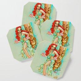 Redhead Hula Girl with Tiki Coaster