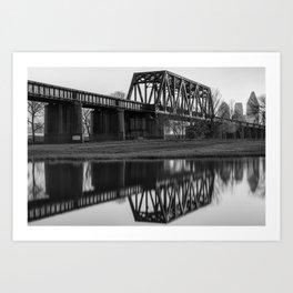 Black and White Dallas Bridge and Skyline Reflections Art Print
