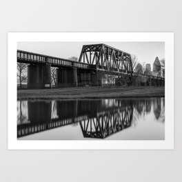Black and White Dallas Bridge and Skyline Reflections Art Print