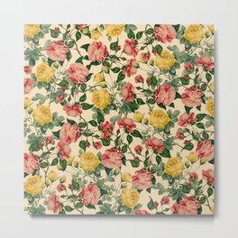 Spring Roses : Vintage Pattern Series Metal Print