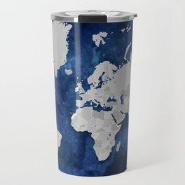 Dark blue watercolor and grey world map Travel Mug