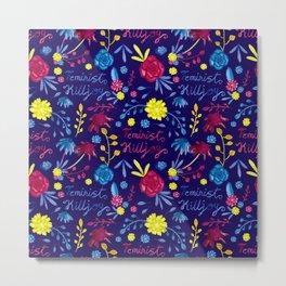 Bright Colourful Floral Feminist Killjoy Pattern Metal Print